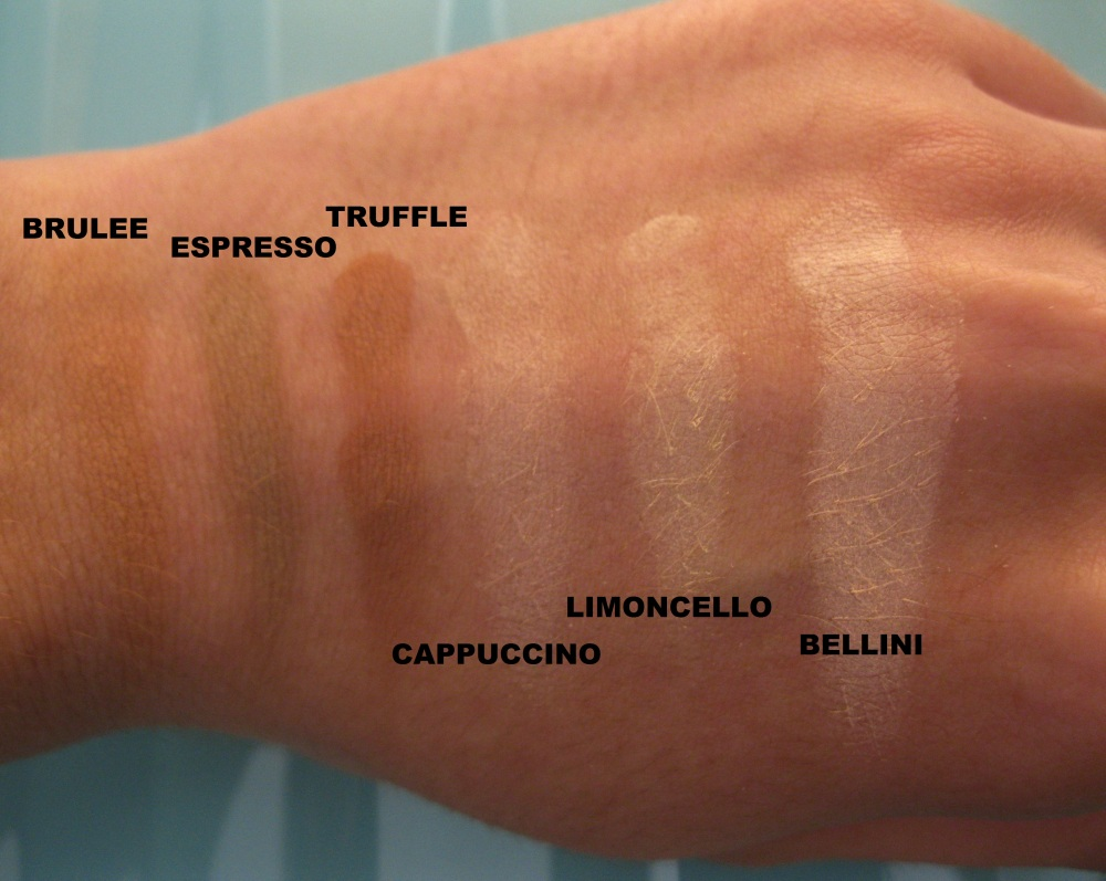 Bellapierre contour and highlight Pro Palette Swatches