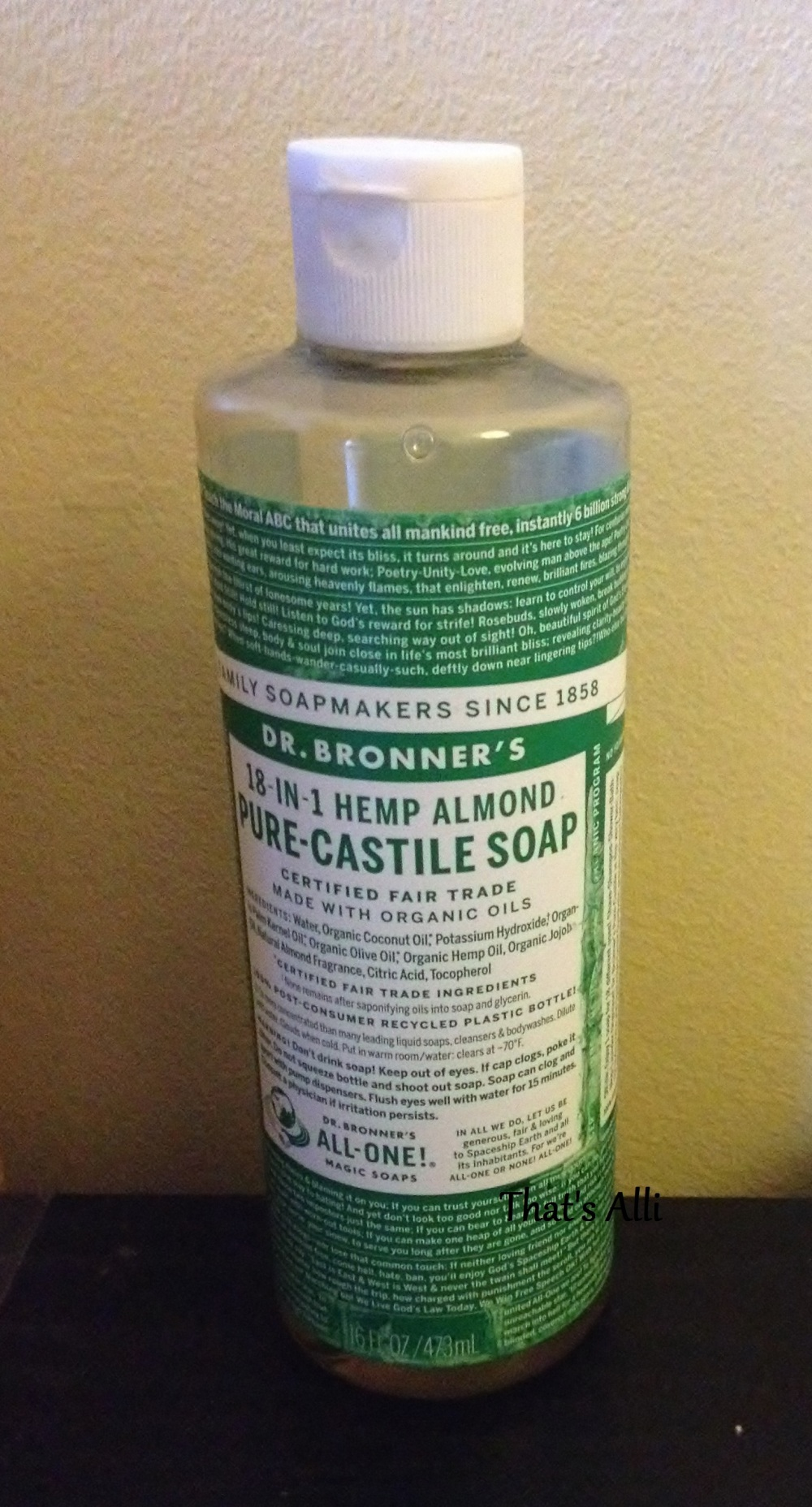 Dr Bronner's Almond Liquid 18-in-1 Pure Castile Soap Review